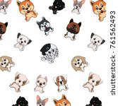 pattern with different funny... | Shutterstock . vector #761562493