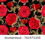 seamless pattern. golden...   Shutterstock . vector #761571103