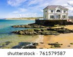 portrush  northern ireland  ... | Shutterstock . vector #761579587