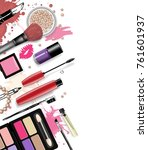 cosmetics set  hand drawn style ... | Shutterstock .eps vector #761601937