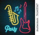 neon light glowing music party... | Shutterstock .eps vector #761605567
