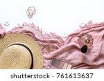 feminine fashion layout top... | Shutterstock . vector #761613637