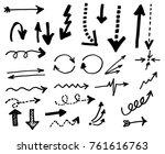 doodle vector arrows. isolated. ... | Shutterstock .eps vector #761616763