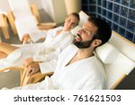 couple enjoying wellness spa... | Shutterstock . vector #761621503