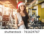 young fir woman with red santa... | Shutterstock . vector #761624767