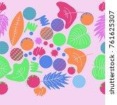 autumn theme  leaves  scribbles ... | Shutterstock .eps vector #761625307