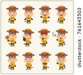 set of calf bull little boy in... | Shutterstock .eps vector #761645503