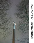 Small photo of Moscow, Gagarin's monument, tree branches, night, city, on the street, noise on the frame, side view, autumn, November 22, 2017