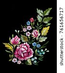 vintage flower embroidery... | Shutterstock .eps vector #761656717