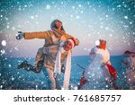 christmas new year snow concept ... | Shutterstock . vector #761685757