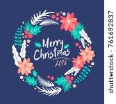 christmas wreath.  merry... | Shutterstock .eps vector #761692837