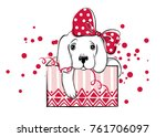 Stock vector christmas illustration with funny dog hand drawn vector labrador puppy and gift box happy new 761706097