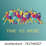 color sport background.... | Shutterstock .eps vector #761746327