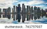 Stock photo the skyline of doha qatar on a sunny day with reflections in the water 761757037