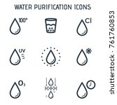 water purification linear icons.... | Shutterstock .eps vector #761760853