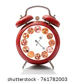 isolated alarm clock with pizza ...   Shutterstock . vector #761782003