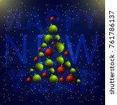 christmas balls tree. happy new ... | Shutterstock .eps vector #761786137