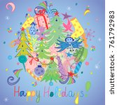 happy holidays  colorful hand... | Shutterstock .eps vector #761792983