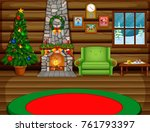 christmas living room with a... | Shutterstock .eps vector #761793397
