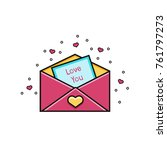 open envelope with love you... | Shutterstock .eps vector #761797273