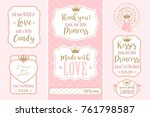 set of vector vintage frames.... | Shutterstock .eps vector #761798587