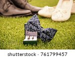 wedding rings  bow tie and... | Shutterstock . vector #761799457