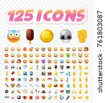 set of realistic cute icons on... | Shutterstock .eps vector #761803087