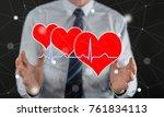 a heart beats graph concept... | Shutterstock . vector #761834113