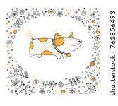 dog animal coloring book page.... | Shutterstock .eps vector #761856493