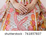 close up of bride's hand with... | Shutterstock . vector #761857837