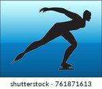 black silhouette of a running... | Shutterstock .eps vector #761871613