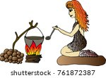 a cave woman cooks dinner at... | Shutterstock .eps vector #761872387