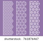 vector set of line borders with ... | Shutterstock .eps vector #761876467