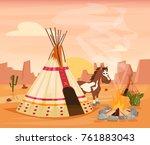 indian tent and horse | Shutterstock .eps vector #761883043