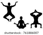 black silhouette of girl... | Shutterstock .eps vector #761886007