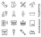 thin line icon set   phone ... | Shutterstock .eps vector #761899753