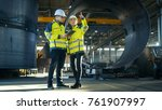 male and female industrial... | Shutterstock . vector #761907997