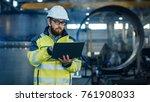 industrial engineer in hard hat ... | Shutterstock . vector #761908033