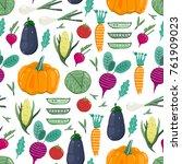 fresh organic vegetables. hand... | Shutterstock .eps vector #761909023