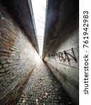 walking between two walls | Shutterstock . vector #761942983