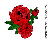 peony icon illustration. doodle ... | Shutterstock . vector #761956693