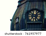 old clock on medieval church... | Shutterstock . vector #761957977