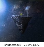 colonize on an asteroid near a... | Shutterstock . vector #761981377