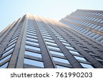 view up the side of skyscraper... | Shutterstock . vector #761990203