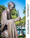 Small photo of Wellington, New Zealand, 28 September 2015: life-sized statue of Indian political and spiritual leader Mahatma Gandhi at Wellington railway station by Indian sculptor Gautam Pal.