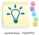 light bulb icon on post it note ... | Shutterstock .eps vector #76202992