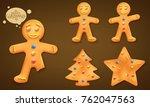 3d smiling brown  gingerbead... | Shutterstock .eps vector #762047563