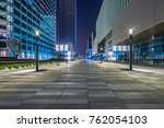 night view of empty brick floor ... | Shutterstock . vector #762054103