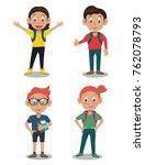school kids cartoon   Shutterstock .eps vector #762078793