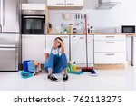 frustrated young woman sitting... | Shutterstock . vector #762118273